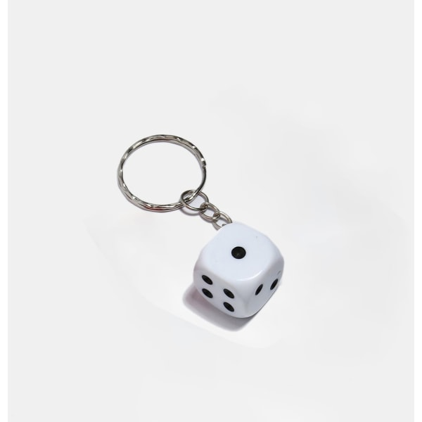 Nyckelring / Nyckelknippa Med Tärning (Vit) Vit one size