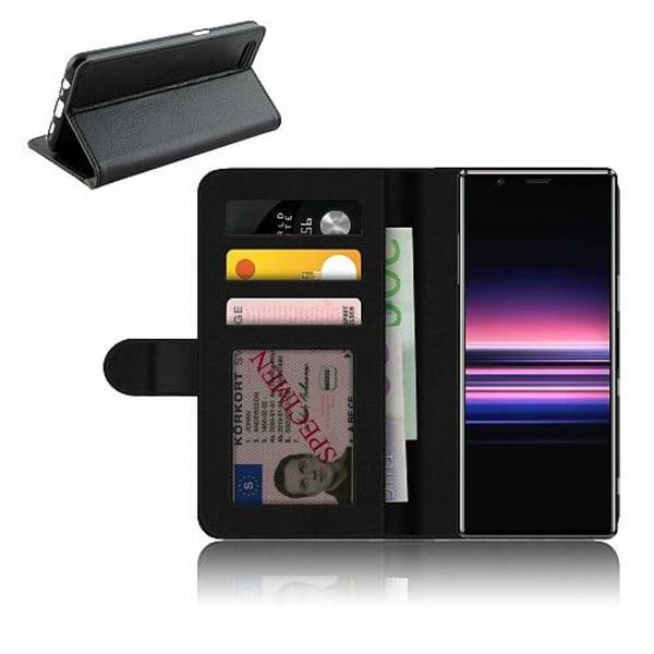 Sony Xperia 5 Plånboksfodral Black & Grey Leather