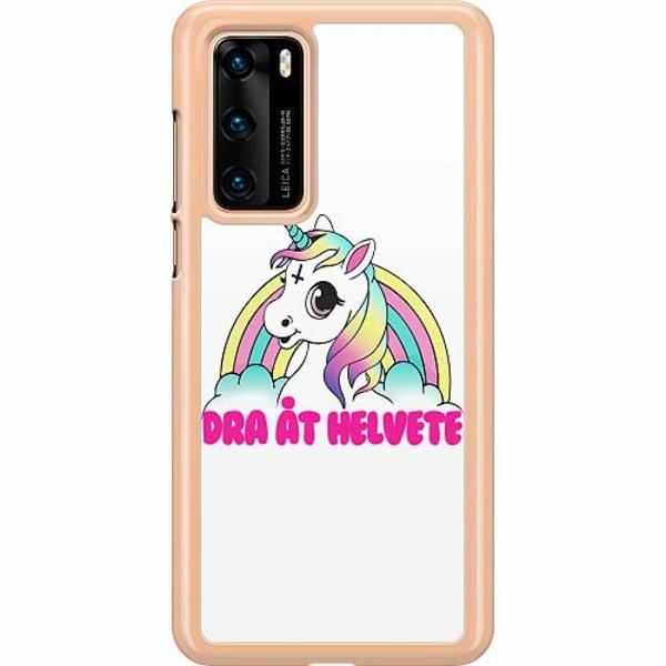 Huawei P40 Hard Case (Clear) Unicorn - Dra Åt @!#