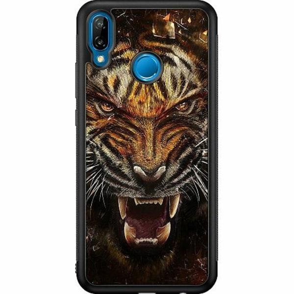 Huawei P20 Lite Soft Case (Svart) Angry Tiger