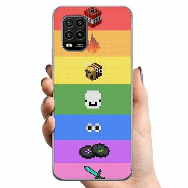 Xiaomi Mi 10 Lite TPU Mobilskal MineCraft Rainbow