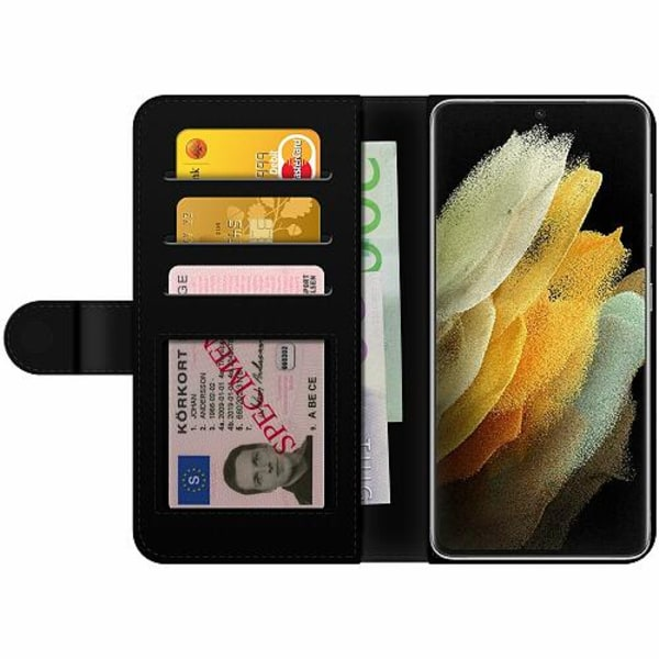 Samsung Galaxy S21 Wallet Case Blue Metallic Stripes