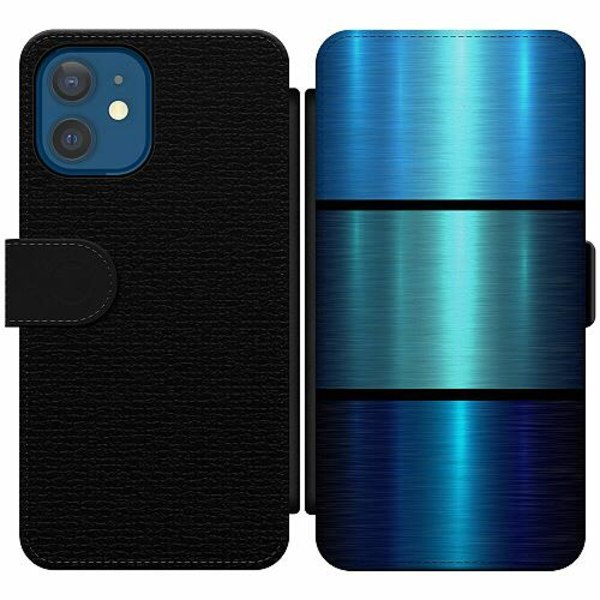 Apple iPhone 12 Wallet Slim Case Blue Metallic Stripes