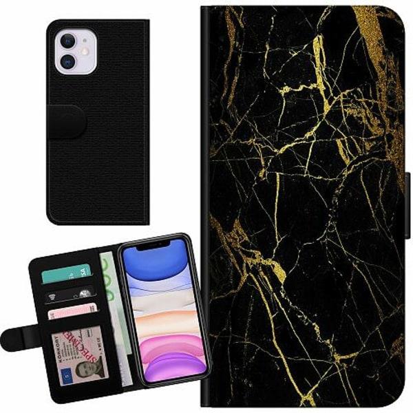 Apple iPhone 11 Billigt Fodral Marble Black&Gold