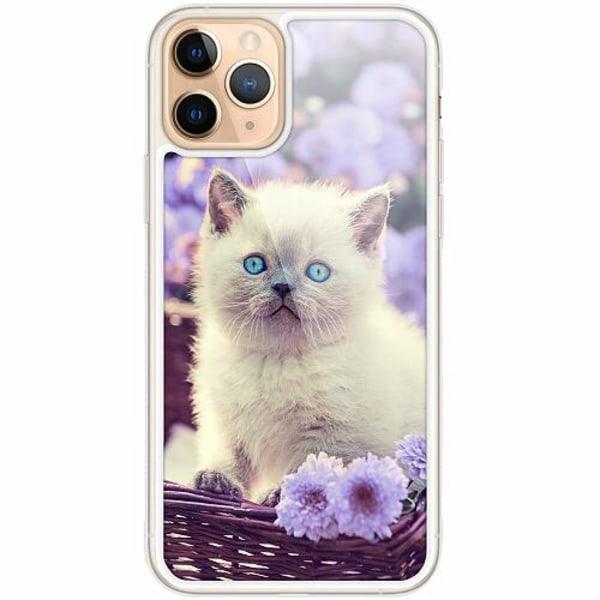 Apple iPhone 11 Pro Transparent Mobilskal med Glas Cute Kitten