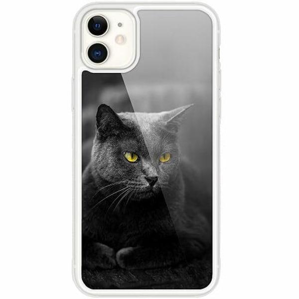 Apple iPhone 12 mini Transparent Mobilskal med Glas Black Cat