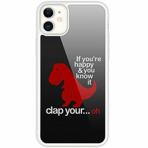 Apple iPhone 12 mini Transparent Mobilskal med Glas Dinosaurie