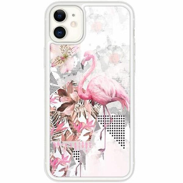 Apple iPhone 12 mini Transparent Mobilskal med Glas Flamingo