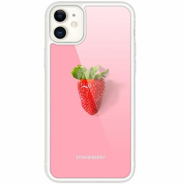 Apple iPhone 12 mini Transparent Mobilskal med Glas Strawberry