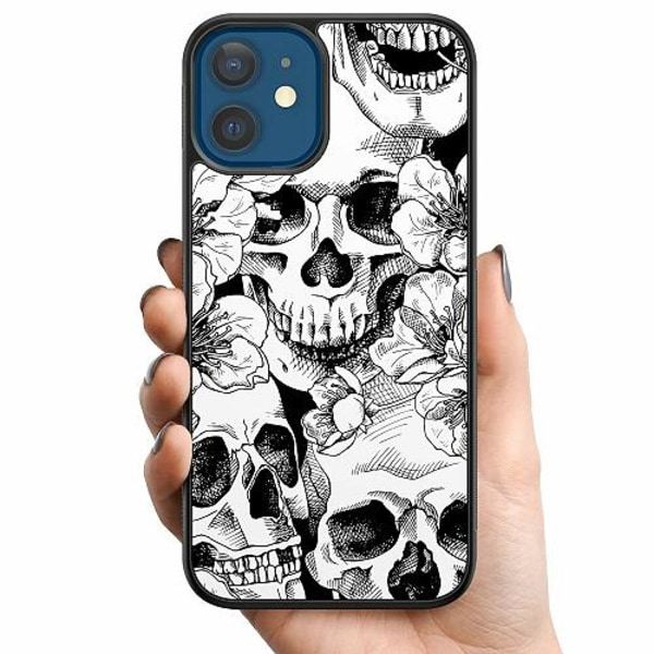 Apple iPhone 12 Billigt mobilskal - White Skulls & Flowers