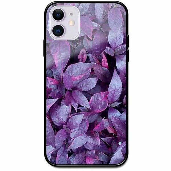 Apple iPhone 12 Svart Mobilskal med Glas Purple Shrubs