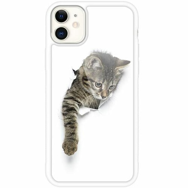 Apple iPhone 12 mini Vitt Mobilskal med Glas Curious Kitten