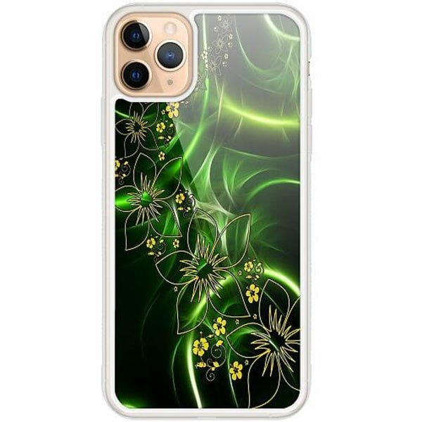 Apple iPhone 12 Pro Transparent Mobilskal med Glas Blommor