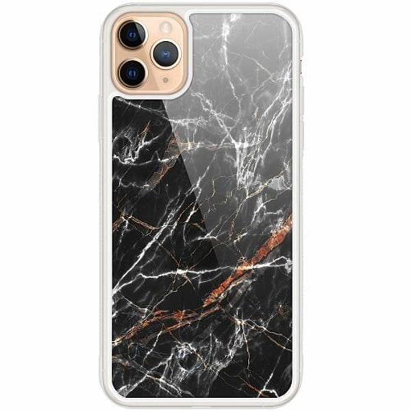 Apple iPhone 12 Pro Transparent Mobilskal med Glas BL4CK MARBLE
