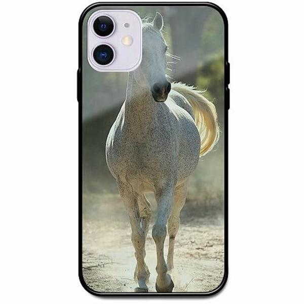 Apple iPhone 12 Svart Mobilskal med Glas Häst / Horse