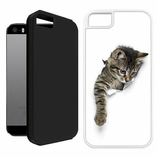 Apple iPhone 5 / 5s / SE Duo Case Vit Curious Kitten
