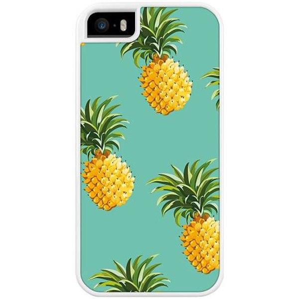 Apple iPhone 5 / 5s / SE Duo Case Vit Pineapples Teal