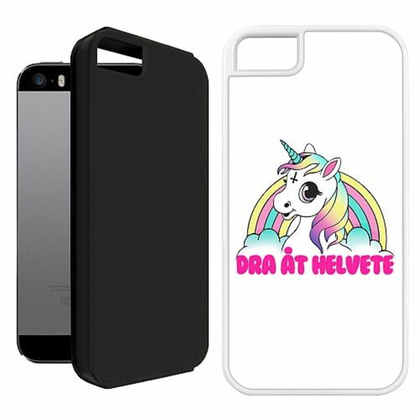 Apple iPhone 5 / 5s / SE Duo Case Vit Unicorn - Dra Åt @!#