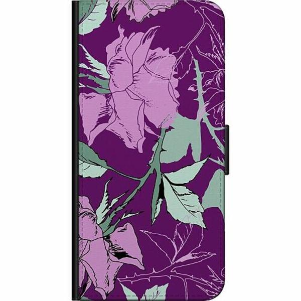 Xiaomi Mi 10 Fodralväska Purple Tapestry With Flowers