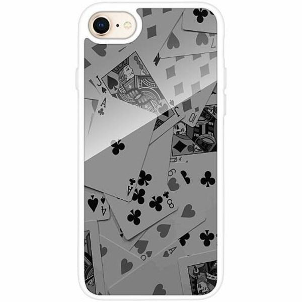 Apple iPhone 7 Vitt Mobilskal med Glas Dark Cards