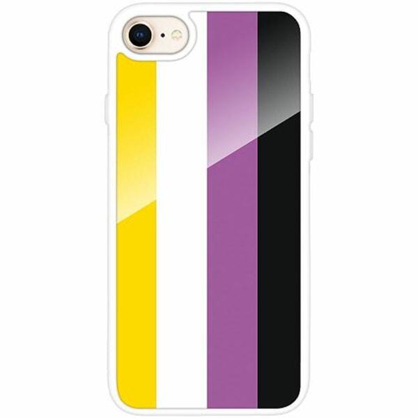 Apple iPhone 7 Vitt Mobilskal med Glas Pride - Non-Binary