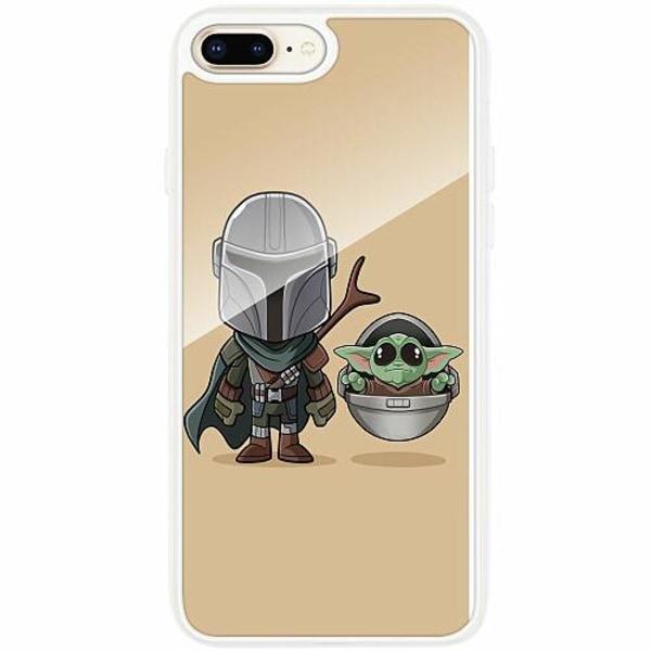 Apple iPhone 7 Plus Transparent Mobilskal med Glas Baby Yoda