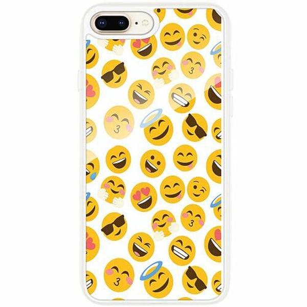 Apple iPhone 7 Plus Transparent Mobilskal med Glas Emoji Mania