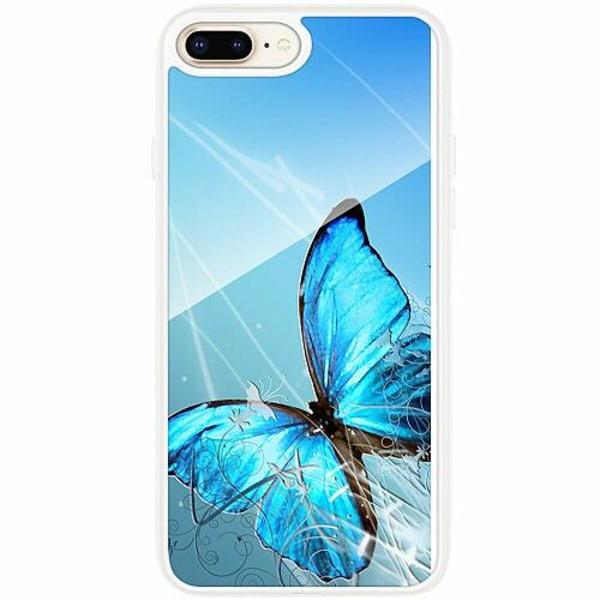 Apple iPhone 7 Plus Transparent Mobilskal med Glas Fjäril