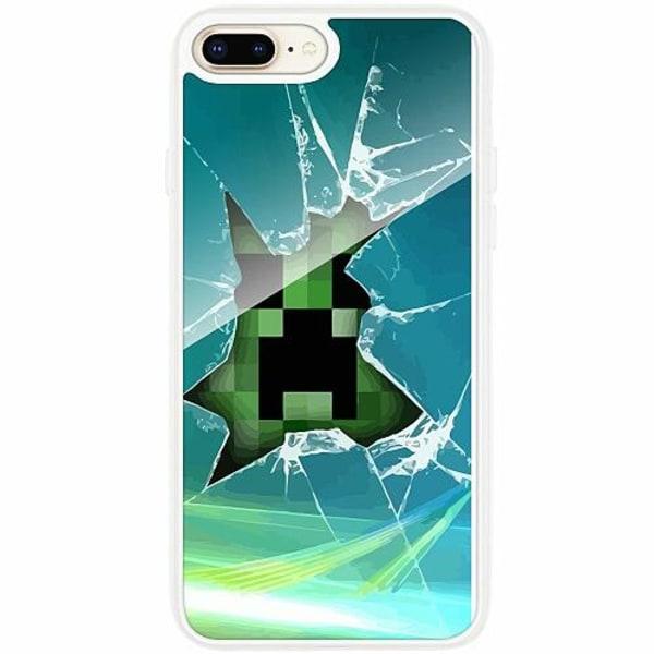 Apple iPhone 8 Plus Transparent Mobilskal med Glas MineCraft