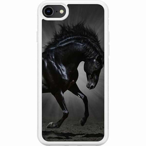 Apple iPhone 8 Soft Case (Vit) Häst / Horse