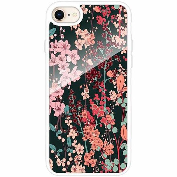 Apple iPhone 7 Vitt Mobilskal med Glas Blommor
