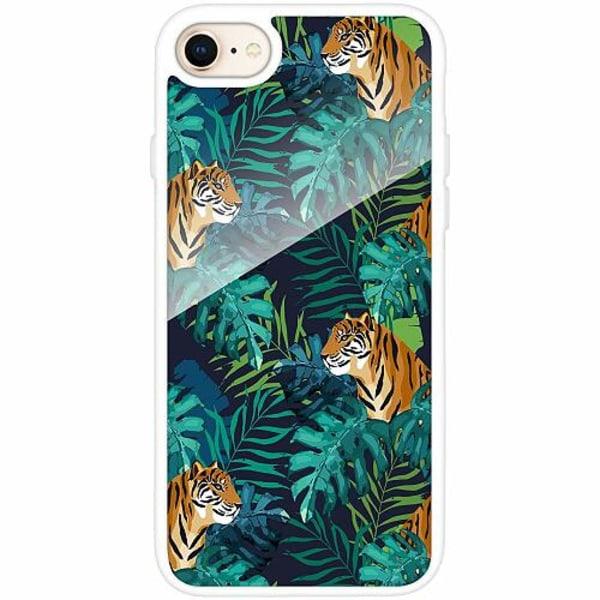 Apple iPhone 7 Vitt Mobilskal med Glas Tiger