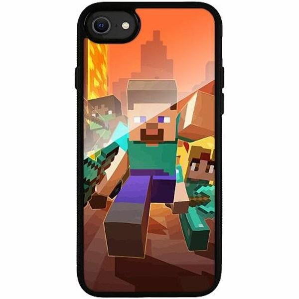 Apple iPhone SE (2020) Svart Mobilskal med Glas MineCraft