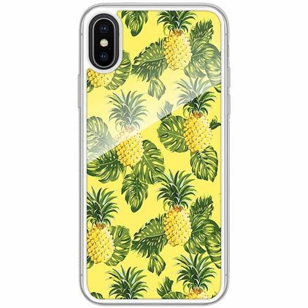 Apple iPhone X / XS Transparent Mobilskal med Glas Ananas