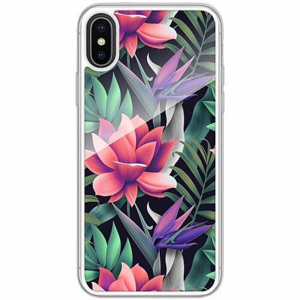 Apple iPhone X / XS Transparent Mobilskal med Glas Blommor