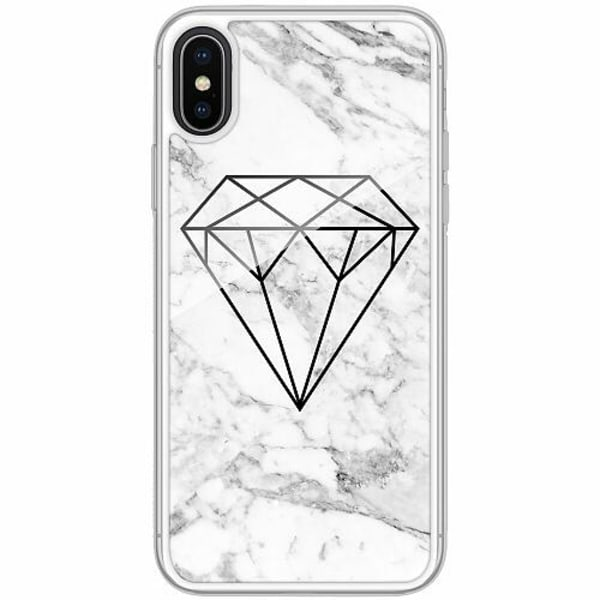 Apple iPhone X / XS Transparent Mobilskal med Glas Diamant