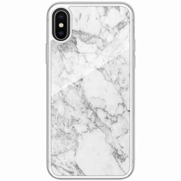Apple iPhone X / XS Transparent Mobilskal med Glas Marmor