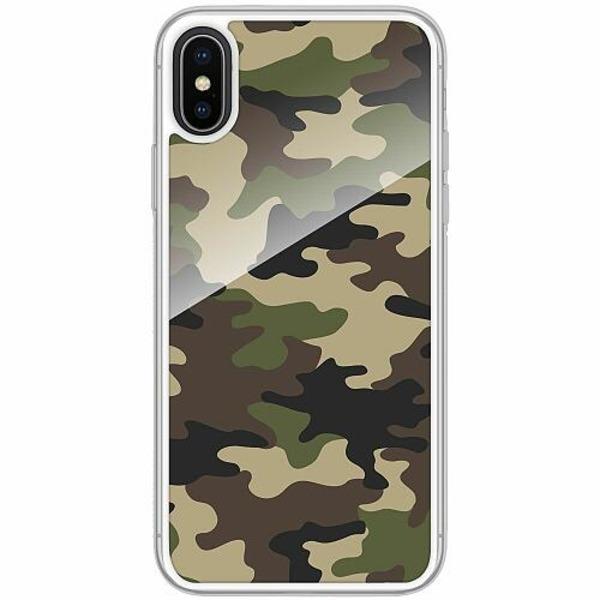 Apple iPhone X / XS Transparent Mobilskal med Glas Woodland Camo