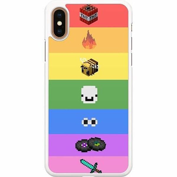 Apple iPhone XS Max Hard Case (Vit) MineCraft Rainbow