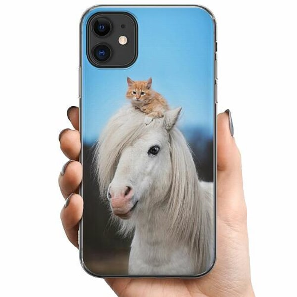 Apple iPhone 11 TPU Mobilskal Horse with CatHat