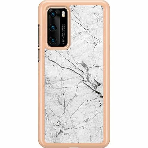 Huawei P40 Hard Case (Clear) Marmor Vit