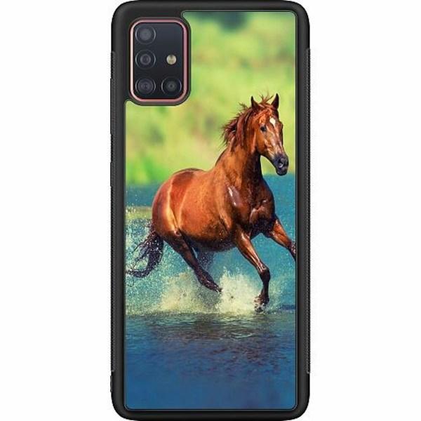 Samsung Galaxy A51 Soft Case (Svart) Häst / Horse