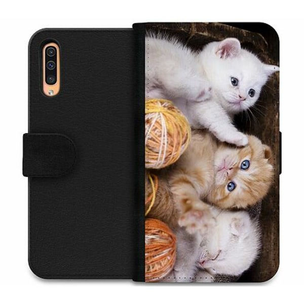 Samsung Galaxy A50 Wallet Case Kittens and Yarn