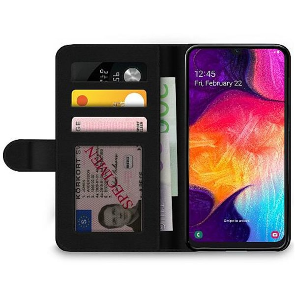 Samsung Galaxy A50 Wallet Case Dots, Lines, What