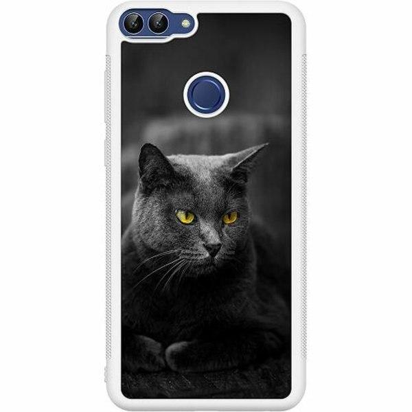Huawei P Smart (2018) Soft Case (Vit) Black Cat