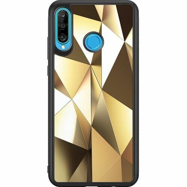 Huawei P30 Lite Soft Case (Svart) Golden Pattern