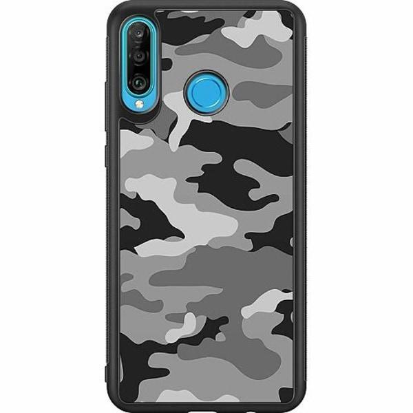 Huawei P30 Lite Soft Case (Svart) Military B/W