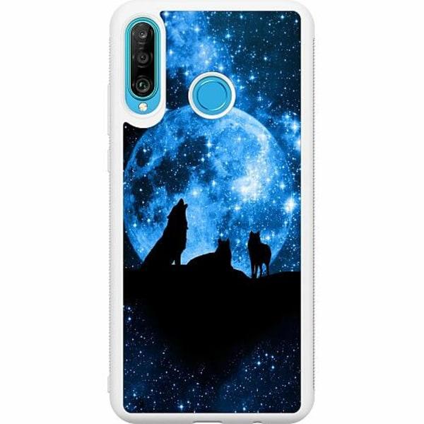 Huawei P30 Lite Soft Case (Vit) Statement Wolf 1055