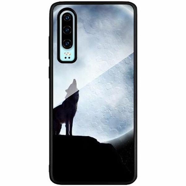 Huawei P30 Svart Mobilskal med Glas Wolf / Varg