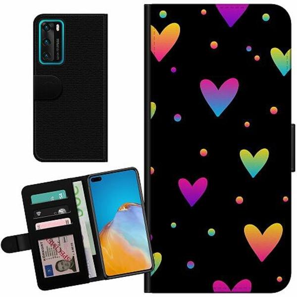 Huawei P40 Billigt Fodral Neon Hearts